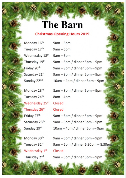 Christmas 2019 opening hours at The Barn