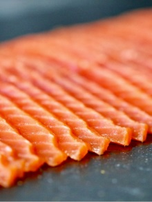 Smoked salmon vertical cut image