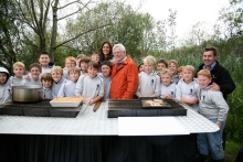Julia Bradbury and john Craven at eel release photo