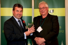 Richard Cook receives his Nature Works award from Gloucestershire Wild Life Trustee Mark Gale photo